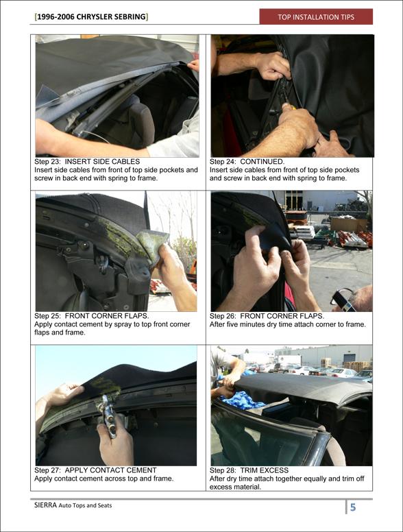 Chrysler Sebring Convertible Top Black Sailcloth Vinyl